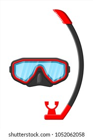 Diving mask with snorkel. Diving equipment. Scuba, snorkeling. Goggles and pipe. Vector illustration in flat style