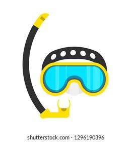 Diving mask yellow snorkeling leisure adventure symbol vector icon. Aquatic equipment water glasses goggles sport