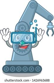 Diving mechatronic robotic arm in mascot shape