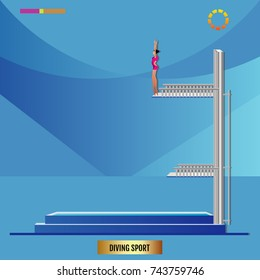 diving player jumping from diving platform. Diving platform with swimming pool