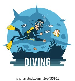 Diving with pleasure. Logo. Diving for fun.