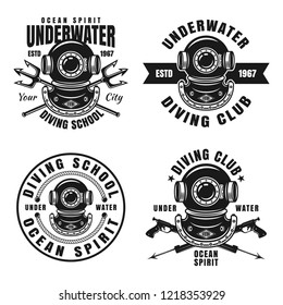Diving school or club set of four vector emblems, badges or labels in vintage monochrome style isolated on white background