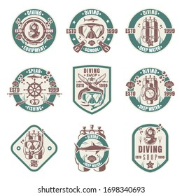 Diving school, shop, club vintage logo, badge, emblem set, vector illustration. Scuba diving, spearfishing, underwater swimming and hunting equipment and gear. Water recreational sport and leisure.