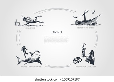 Diving - scuba diving, secrets of the seabed, the equipment of the diver, the study of marine fauna vector concept set. Hand drawn sketch isolated illustration