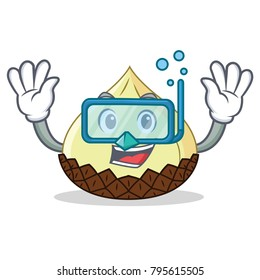Diving snake fruit character cartoon