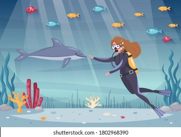 Diving snorkeling cartoon composition with ocean underwater scenery and sea plants with fishes and female diver vector illustration