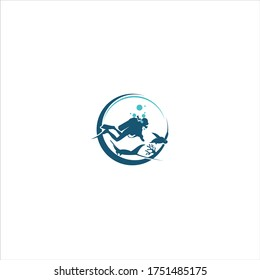 diving and snorkeling center or school logo. Scuba diver swimming underwater over beautiful corals. Vector Illustration