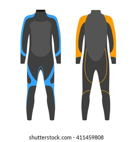 Diving suit vector illustration. Suit for spearfishing. Scuba diving outfit. Diving equipment kit.