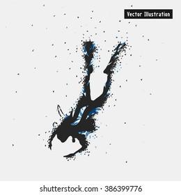 Diving. Vector eps10 illustration. Particle divergent composition