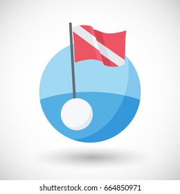 Diving warning flag vector flat icon, Flat design of sea with international flag and buoy with round shadow, vector illustration