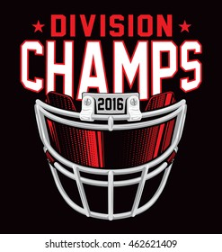 Division champs football helmet facemask t-shirt design