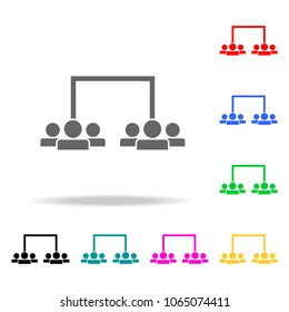 division of employees into teams icon. Elements of teamwork multi colored icons. Premium quality graphic design icon. Simple icon for websites, web design, mobile app on white background