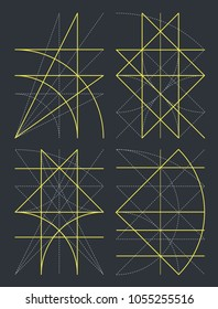 Division in geometry by yellow lines on dark gray background