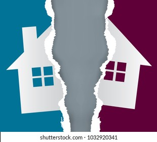 Division of immovable property paper concept. Ripped paper with the symbol of the house symbolizing division of property. Vector available.