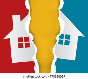 Division of immovable property. Ripped paper with the symbol of the house symbolizing division of property. Vector available.