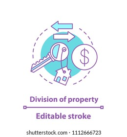 Division of property concept icon. Real estate distribution. Property buying, rent or sale. Vector isolated outline drawing. Editable stroke