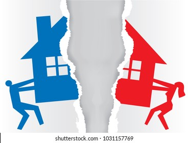 Division of property at divorce.  A divorced couple ripping paper with the symbol of the house. Vector available.