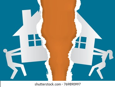 Division of property at divorce. A married couple ripping  paper with the symbol of the house. Vector available.