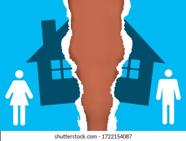 Division of property at divorce,torn paper concept. A divorced couple ripping paper with the symbol of the house. Vector available.