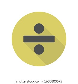 division sign long shadow icon. Simple glyph, flat vector of web icons for ui and ux, website or mobile application