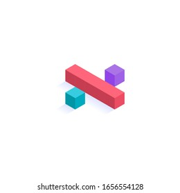 division sign math Isometric colorful cubes 3d design, three-dimensional letter vector illustration isolated on white background