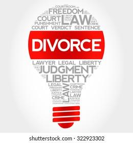 Divorce bulb word cloud concept