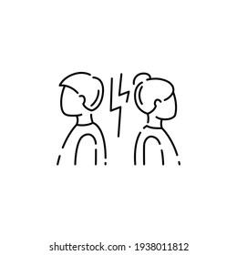Divorce color line icon. Disagreement, relationship troubles concept. Sign for web page, mobile app, button, logo. Editable stroke