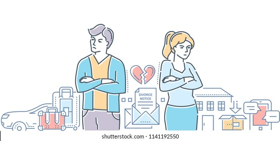 Divorce - colorful line design style illustration on white background. High quality composition with a young couple breaking up, dividing property and possessions, car, house. Relations concept