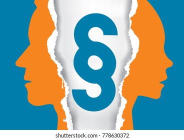 Divorce couple ripped paper with paragraph sign. Ripped paper with man and woman silhouettes and paragraph sign. Vector available.