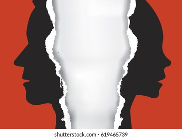 Divorce couple torn paper concept. Ripped paper with man and woman silhouettes symbolizing divorced couple.Place for your text or image.Vector available.