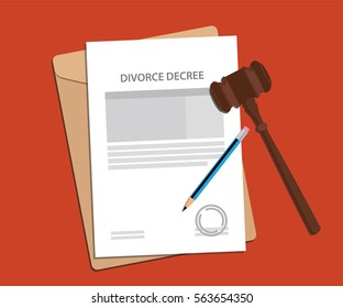 divorce decree agreement concept illustration with paperworks, pen and a judge hammer