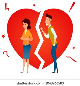 Divorce. Fight and argue. Two people quarrel. Family conflict. Break up relationship. Married couple man and woman angry, sad against broken heart.. Cartoon characters. Vector illustration