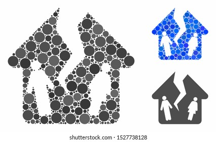 Divorce house mosaic of circle elements in variable sizes and shades, based on divorce house icon. Vector circle elements are combined into blue collage.
