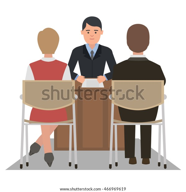 Divorce Lawyer Husband Wife Dissolve Marriage Stock Vector