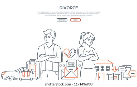 Divorce - line design style banner on white background with place for your text. A composition with young couple breaking up, dividing property and possessions, car, house. Relations concept