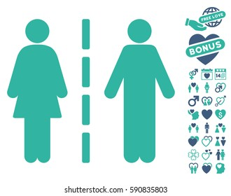 Divorce Line pictograph with bonus decoration icon set. Vector illustration style is flat iconic cobalt and cyan symbols on white background.