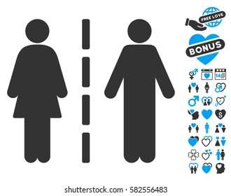 Divorce Line pictograph with bonus marriage pictograms. Vector illustration style is flat iconic blue and gray symbols on white background.