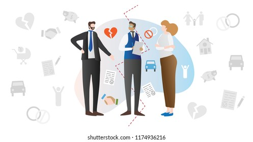 Divorce mediation married couple conflict concept vector illustration with wife, husband and mediator lawyer discussing breakup contract. Relationship problems and legal advice scene.