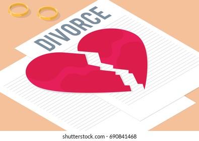 Divorce papers illustration. Broken heart vector design. Wedding rings