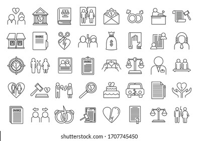 Divorce separation icons set. Outline set of divorce separation vector icons for web design isolated on white background