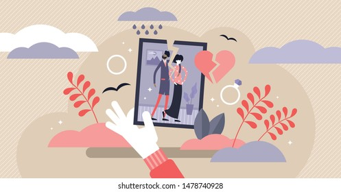 Divorce vector illustration. Flat tiny relationship breakup persons concept. Marriage separation with husband and wife feeling crisis, problems and conflict. Adult family decision to be split single.