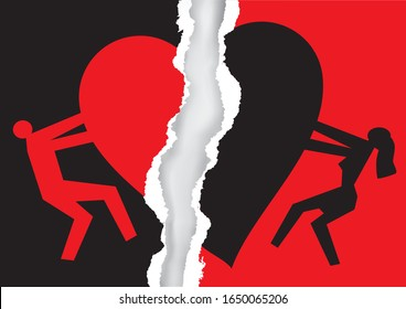 Divorced couple, red and black ripped paper with heart symbol.  Torn  paper with man and woman silhouettes and broken heart icon symbolizing the end of love. Vector available.