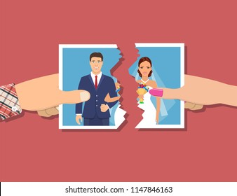 Divorcement. Man and woman hands tear apart wedding photo. Break up of relationship. End of family life. Disengagement of young former wife and husband. Divorce concept