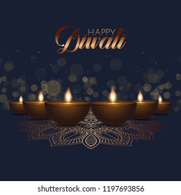 Diwali background with oil lamps and bokeh lights design