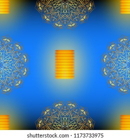 Diwali blue seamless vector pattern with golden mandala, eps 10.