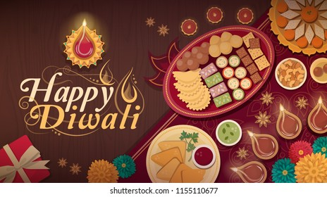 Diwali celebration at home with traditional food and lamps