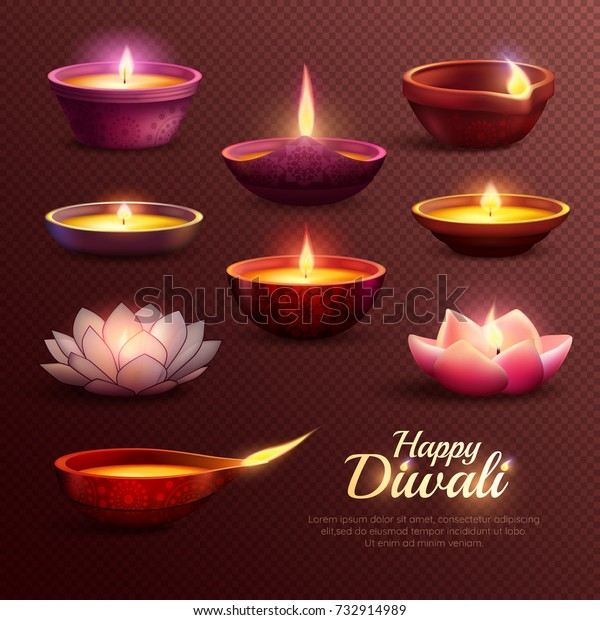 Diwali celebration icons set with burning oil lamps of various shape on transparent background isolated vector illustration