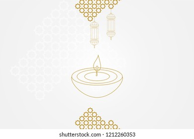 Diwali celebration vector illustration design card template. Deepavali or Hindu Festival of Lights holiday concept. Diwali oil lamp or diya, lanterns and geometric traditional pattern or rangoli.