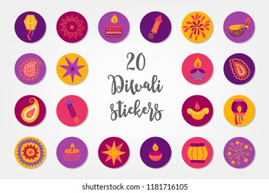 Diwali circle stickers with lantern, mandala, candle, firecracker, firework, diya, paisley, star and candle. Perfect for festival of lights