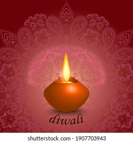 Diwali - colorful greeting card. Candle on a lace background